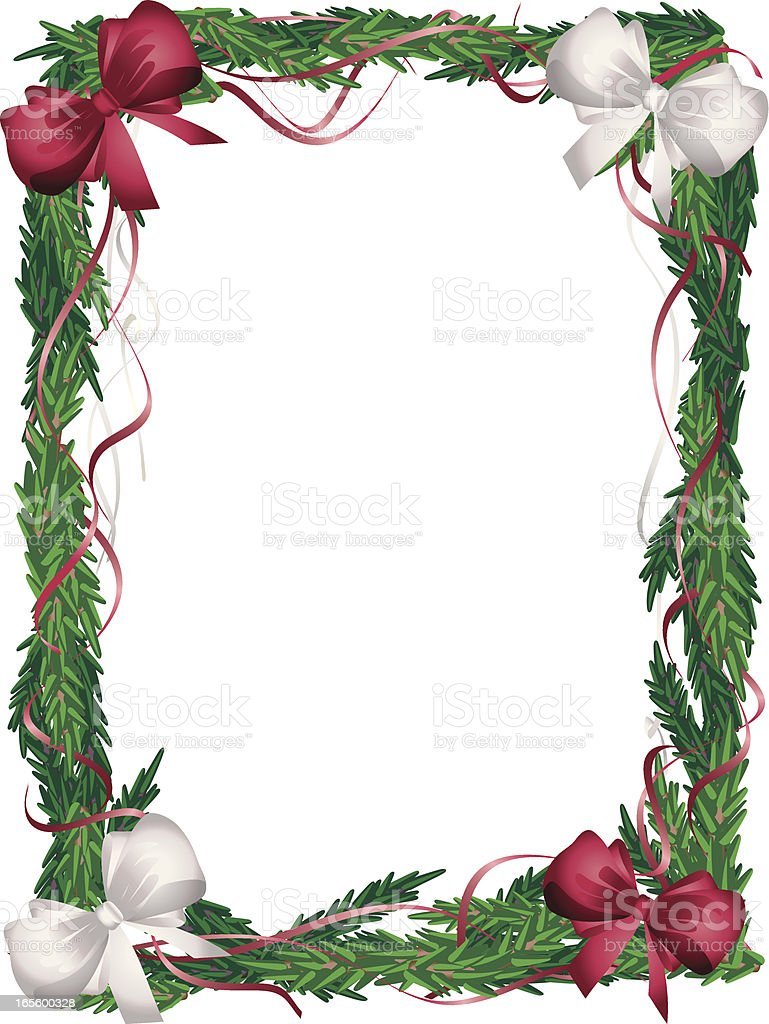 Vertical Christmas Tree  Frame Red and White Bows royalty-free stock vector art