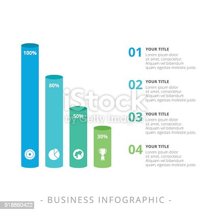 Vertical Cylinder Bar Chart Template Stock Vector Art