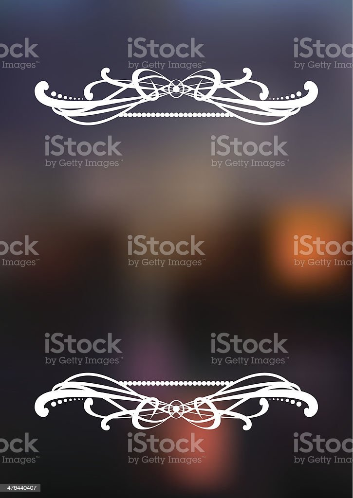 Vertical dark blurred background with white ornament. royalty-free stock vector art