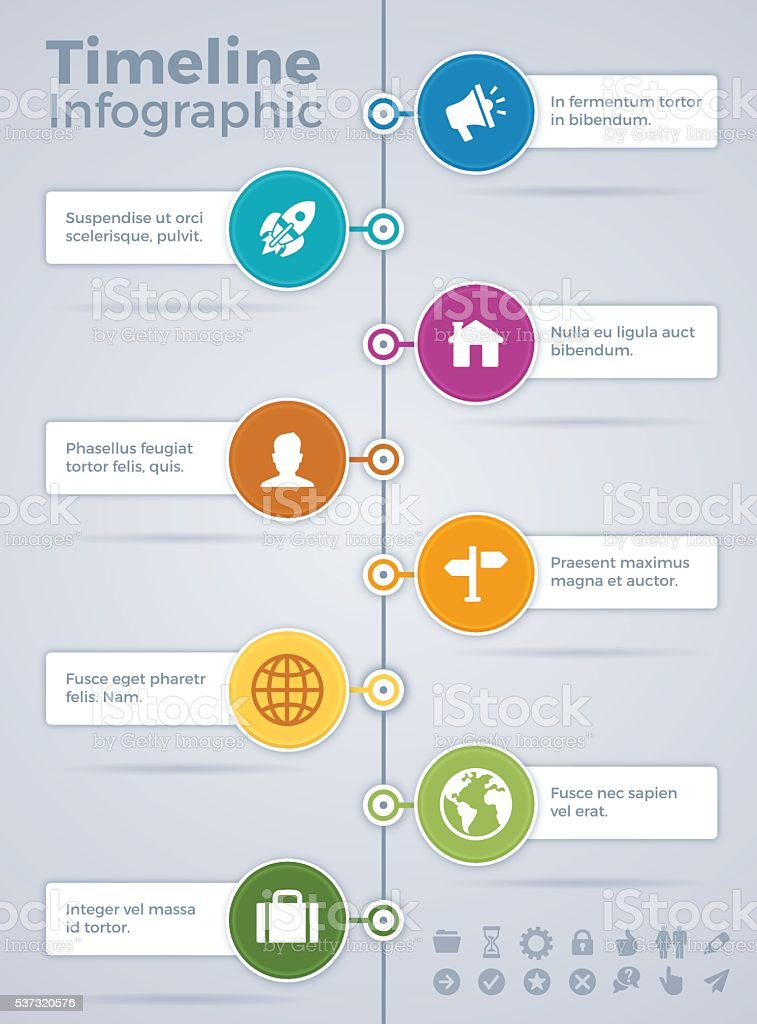 Vertical Eight Option Timeline Infographic vector art illustration