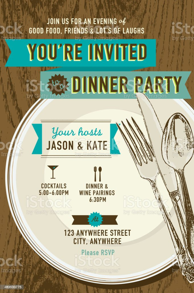 Vertical Elegant dinner party invitation design template vector art illustration