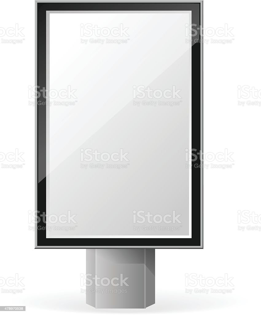 Vertical empty, dark vector billboard screen on white background vector art illustration