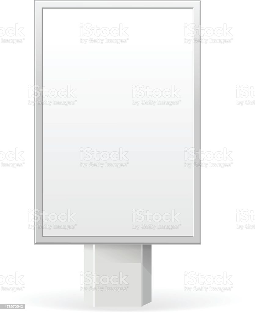 Vertical empty, white vector billboard screen on white background vector art illustration