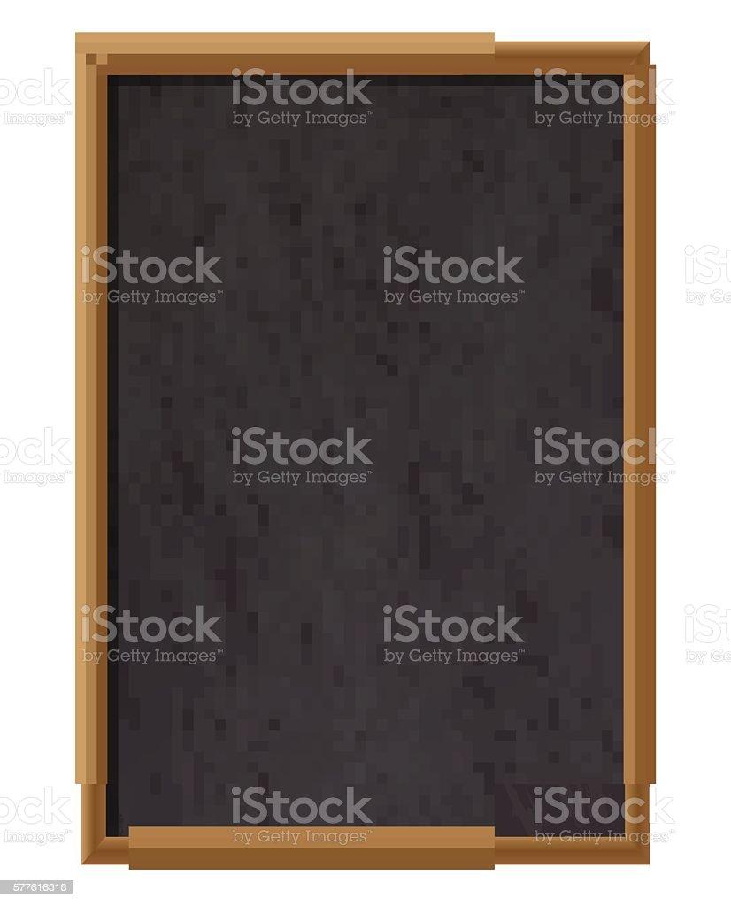 Vertical empty wooden chalk board vector art illustration