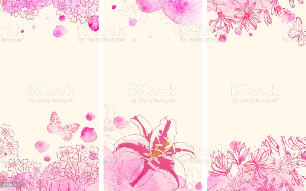 Vertical floral banners with flowers vector art illustration