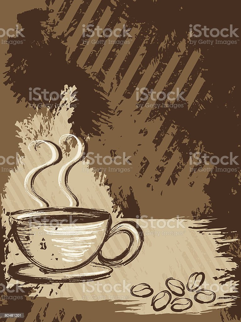 Vertical grungy coffee background royalty-free stock vector art