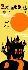 Vertical Halloween Banner, weird castle on hill, bats flying, ghost vector art illustration