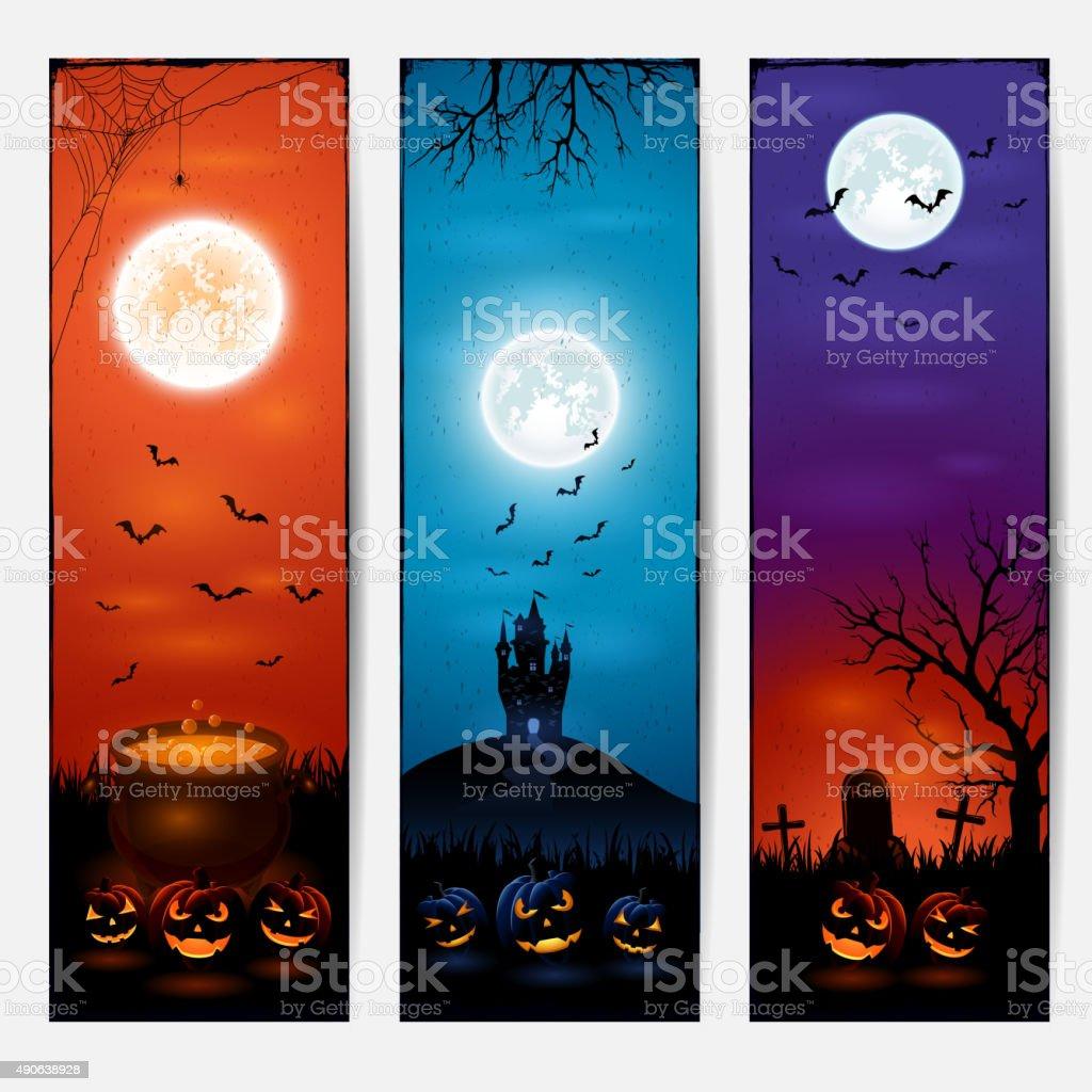 Vertical Halloween banners vector art illustration