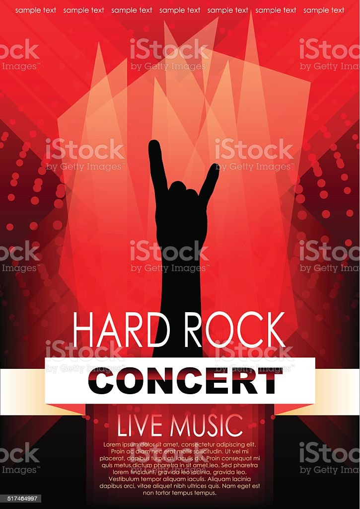 Vertical music background with red elements and hand of rocker. vector art illustration