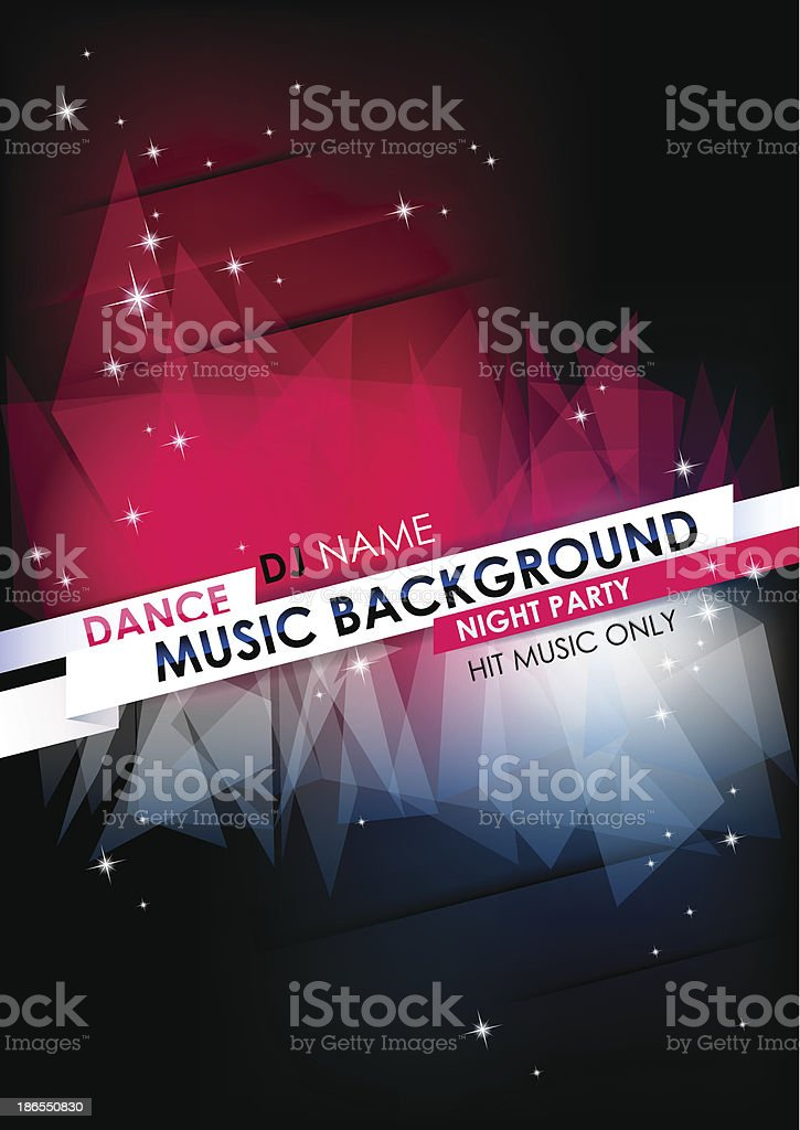 Vertical music background with stars and place for text. vector art illustration