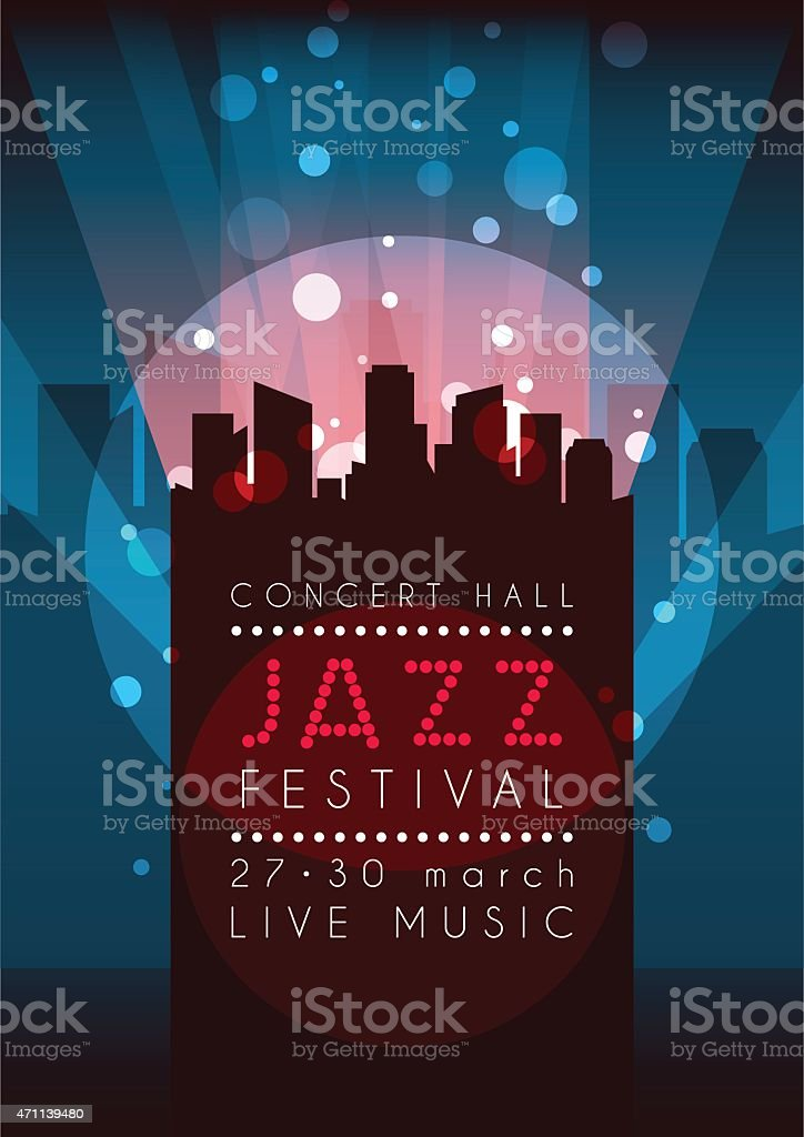 Vertical music jazz background with silhouette of city. vector art illustration
