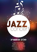 Vertical music jazz poster with blurred background and text.