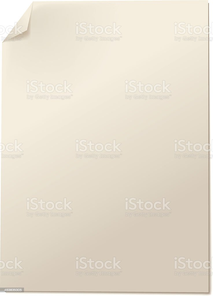 Vertical paper page with bent corner royalty-free stock vector art