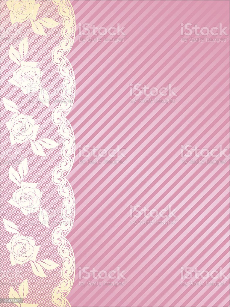 Vertical pink and gold French lace background royalty-free stock vector art