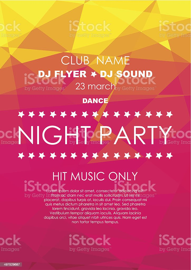 Vertical red and yellow mosaic music party background. vector art illustration