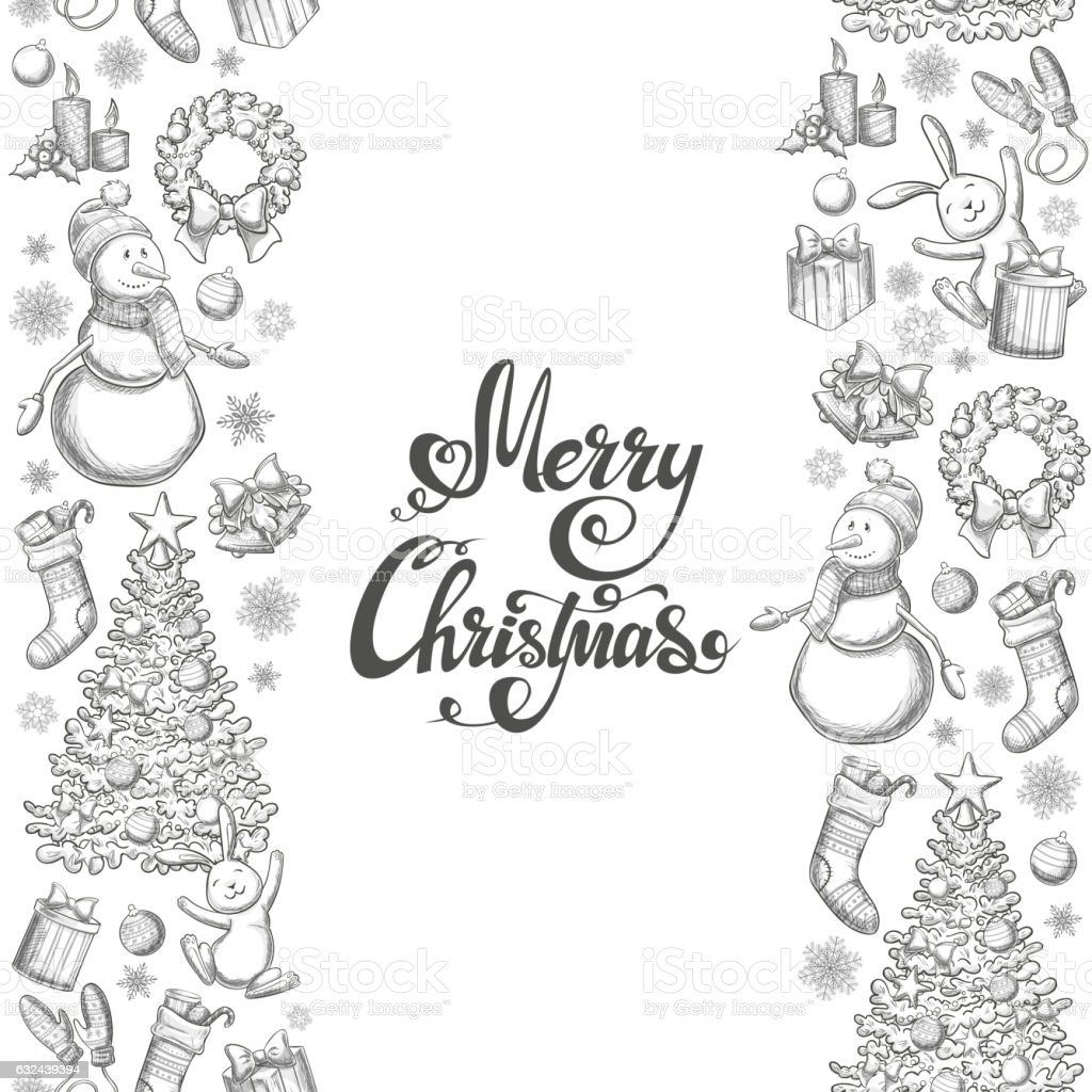 Vertical seamless borders with Christmas icons vector art illustration
