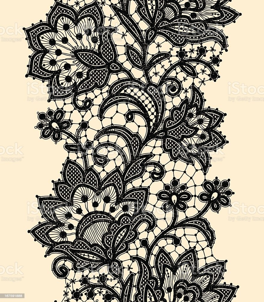 Vertical Seamless Pattern. Black Lace. vector art illustration