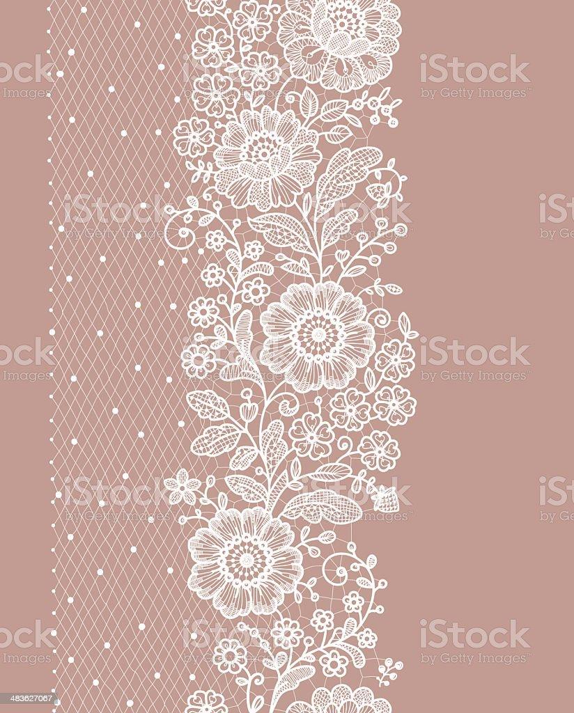 Vertical Seamless Pattern. lace. vector art illustration