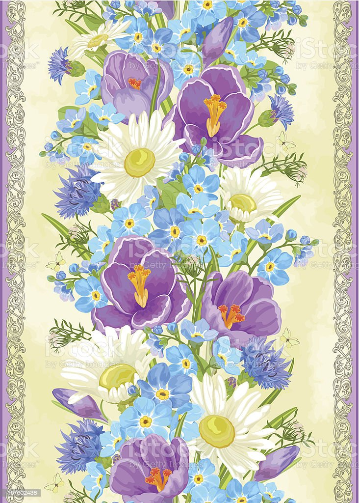 Vertical seamless pattern with crocuses, chamomiles and forget-me-not. royalty-free stock vector art
