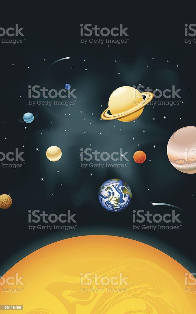Vertical Solar System vector art illustration