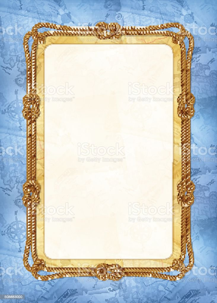 Vertical template of diploma or card with sea design elements vector art illustration