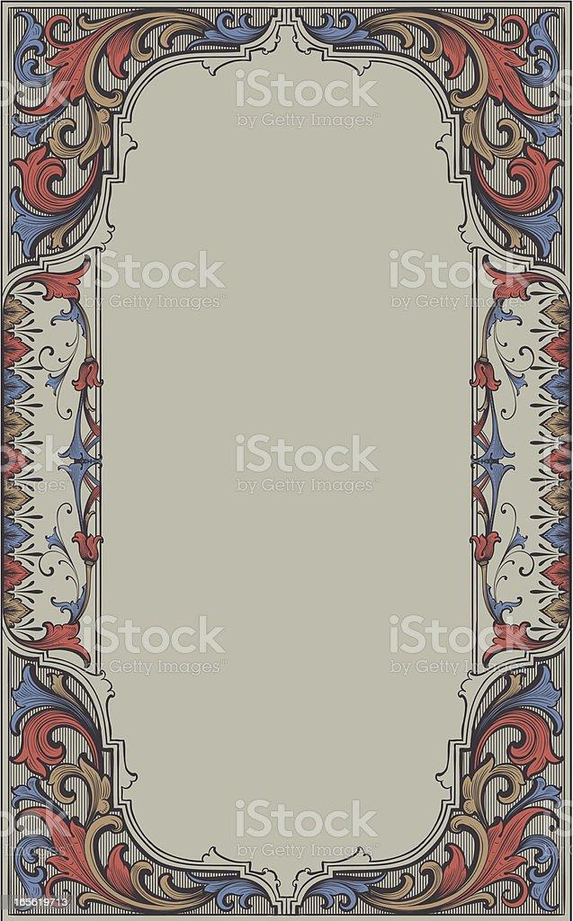 Vertical Vintage Scroll Frame vector art illustration
