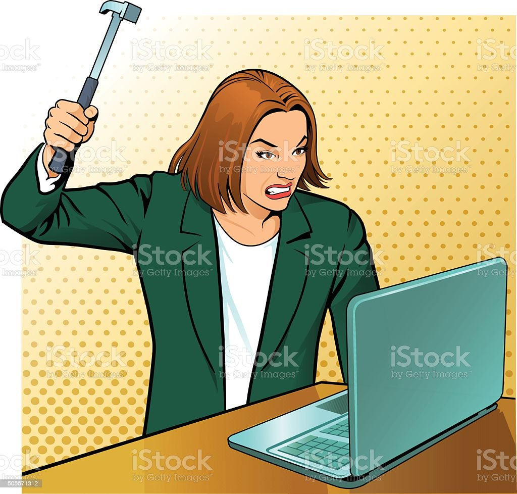 Very Angry Office Worker vector art illustration