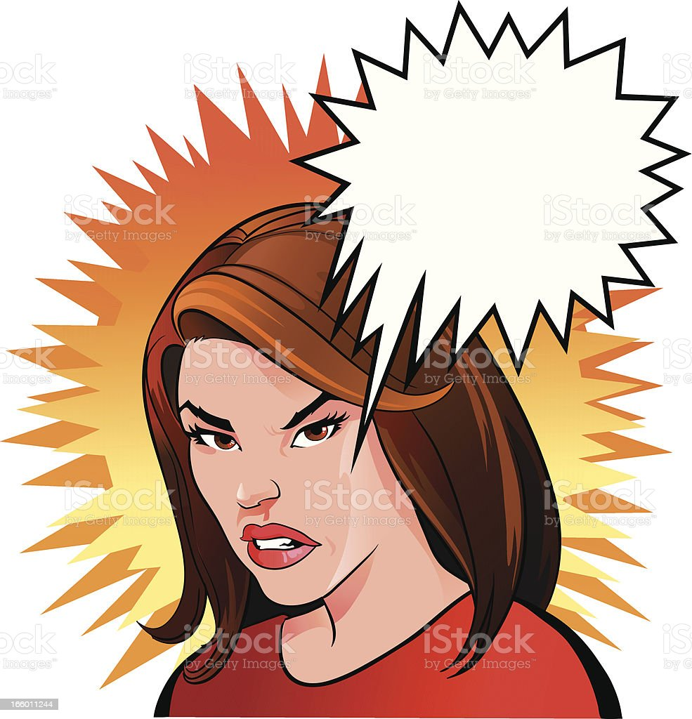 Very Angry Woman vector art illustration