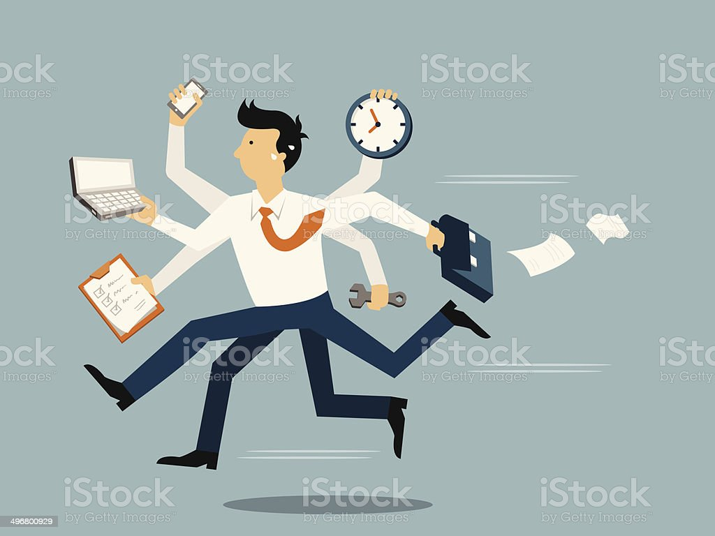 Very busy business vector art illustration