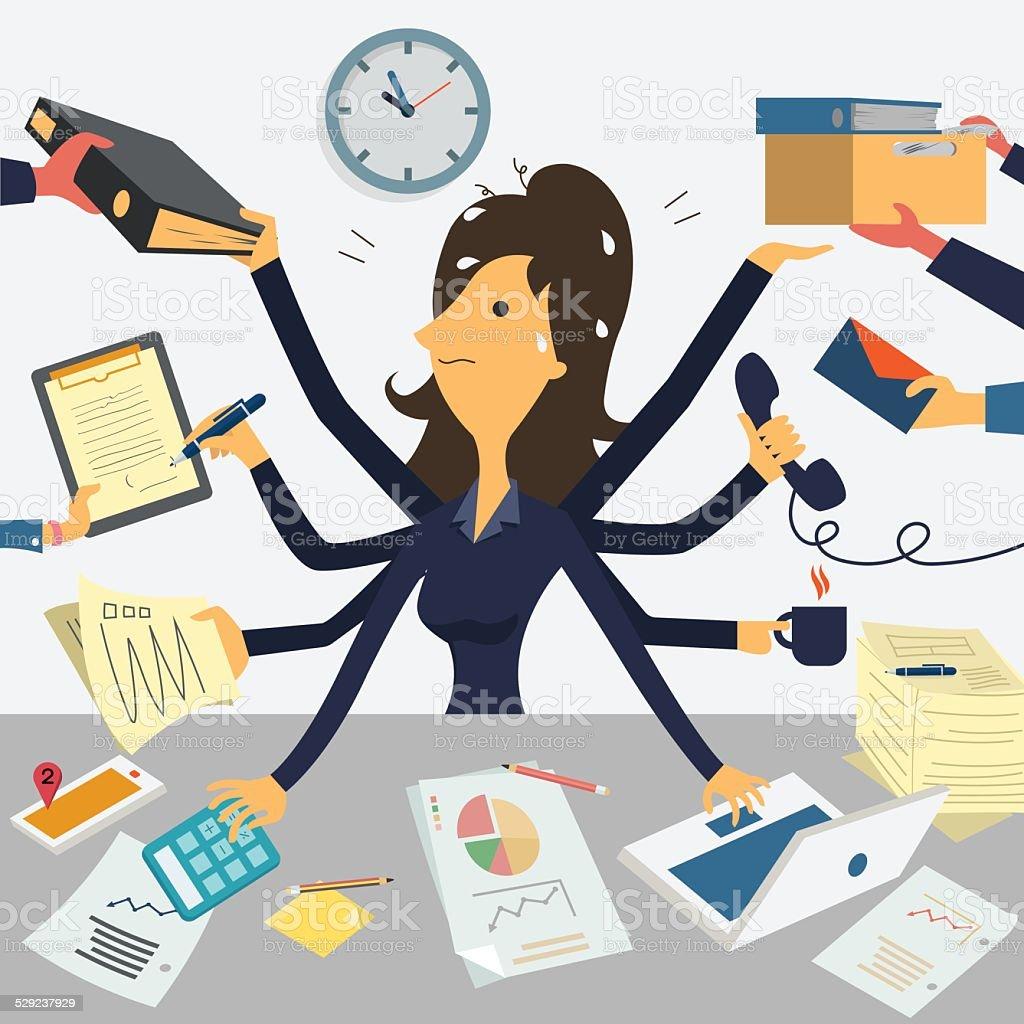 Very busy businesswoman vector art illustration