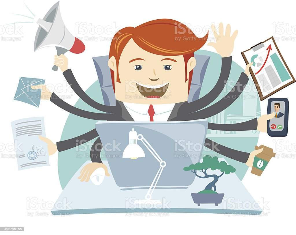 Very busy office man working hard by eight hands vector art illustration