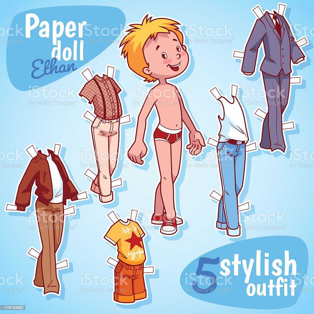 Very cute paper doll with five stylish outfits. Blond boy. vector art illustration