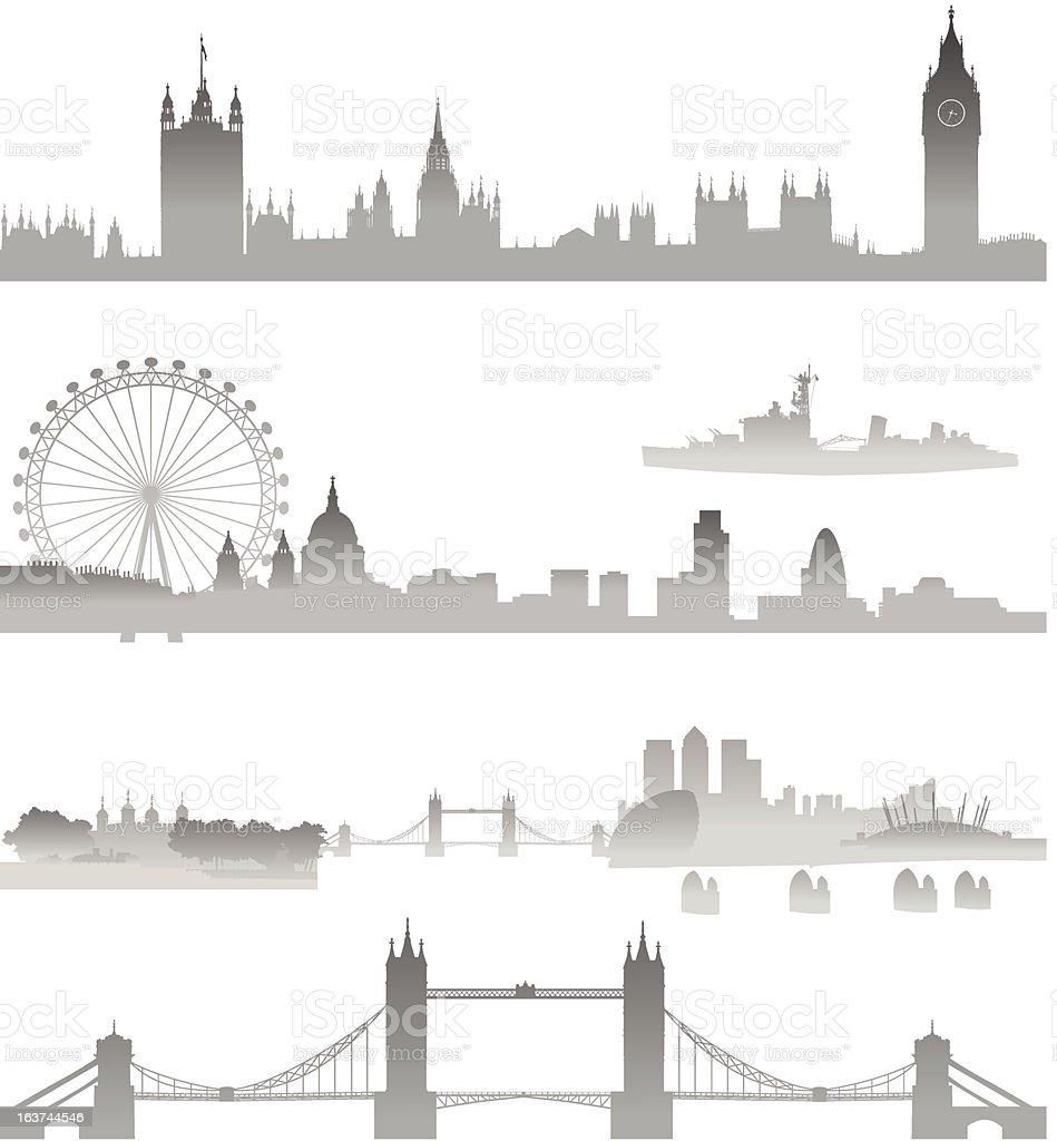 Very Detailed London skyline vector art illustration