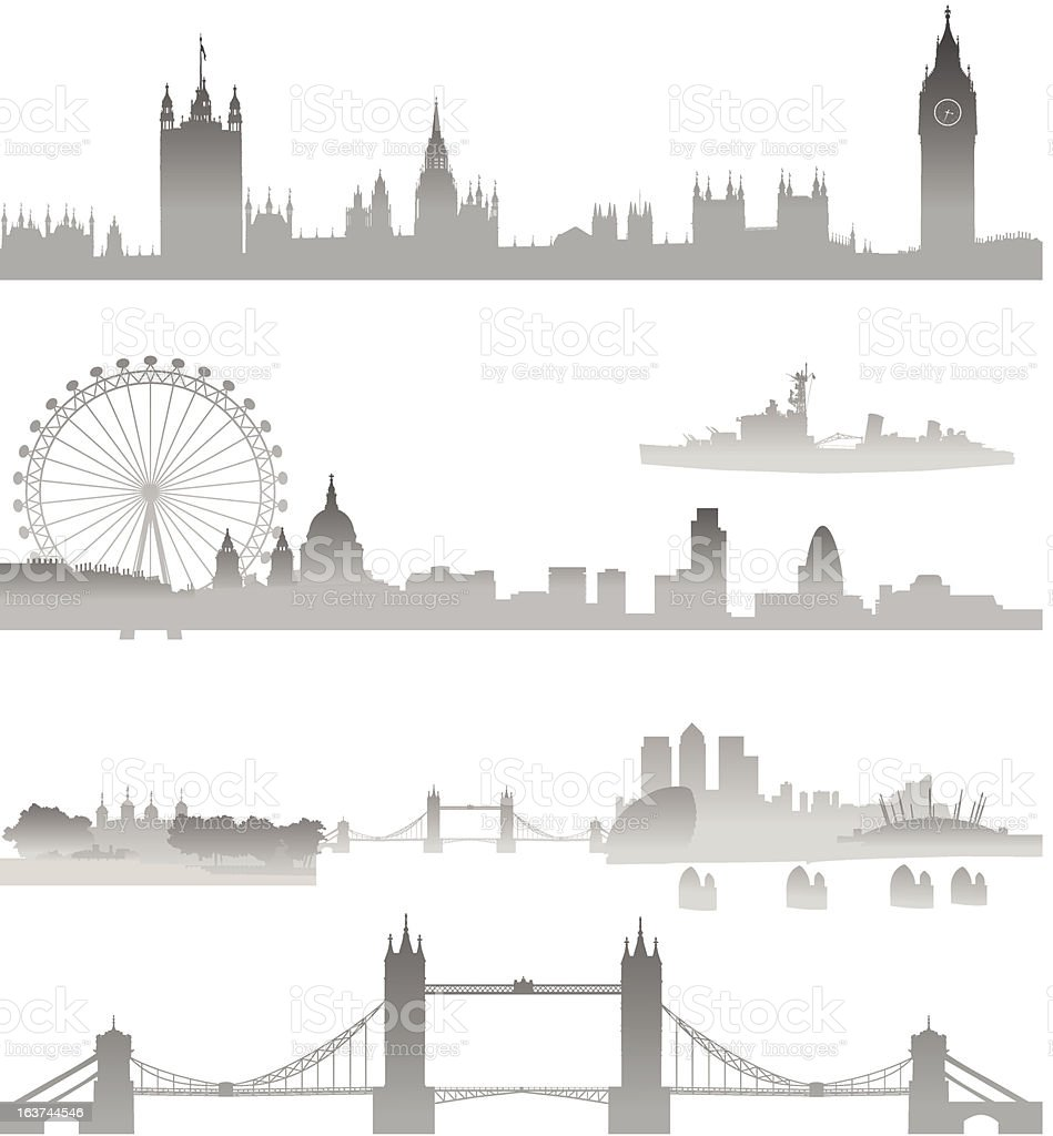 Very Detailed London skyline vector art illustration