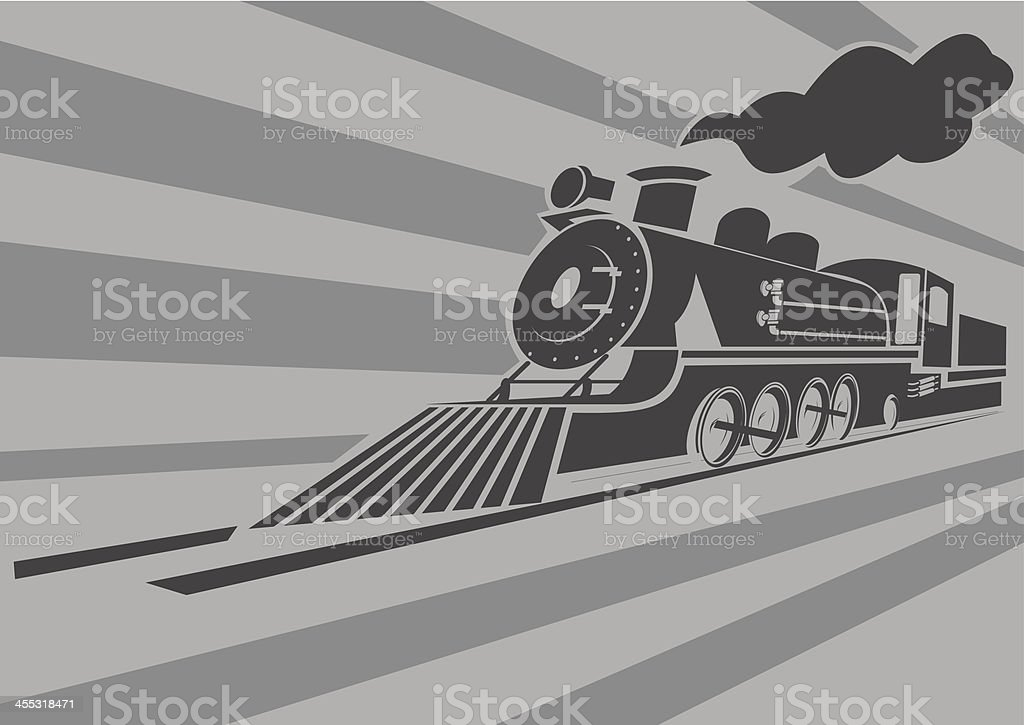 Very fast old steam train vector art illustration