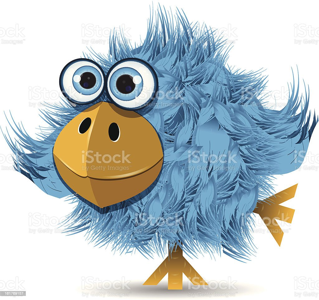 very funny blue bird royalty-free stock vector art