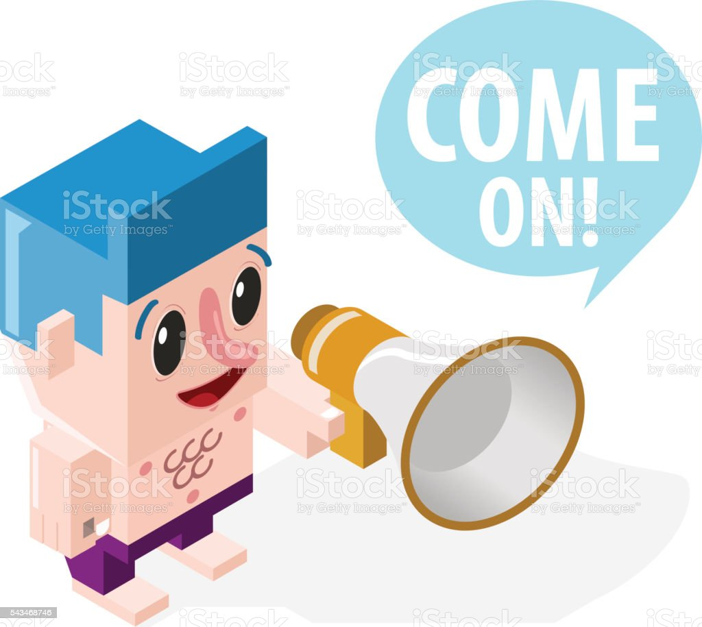 Very Happy Cartoon Boy with a Megaphone on White Background. vector art illustration