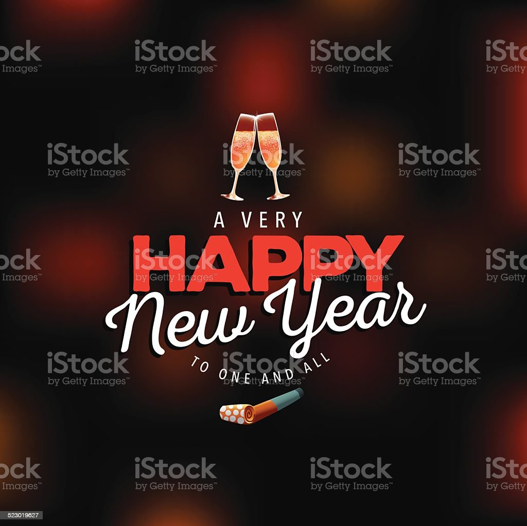 Very happy new year on blurry background vector art illustration