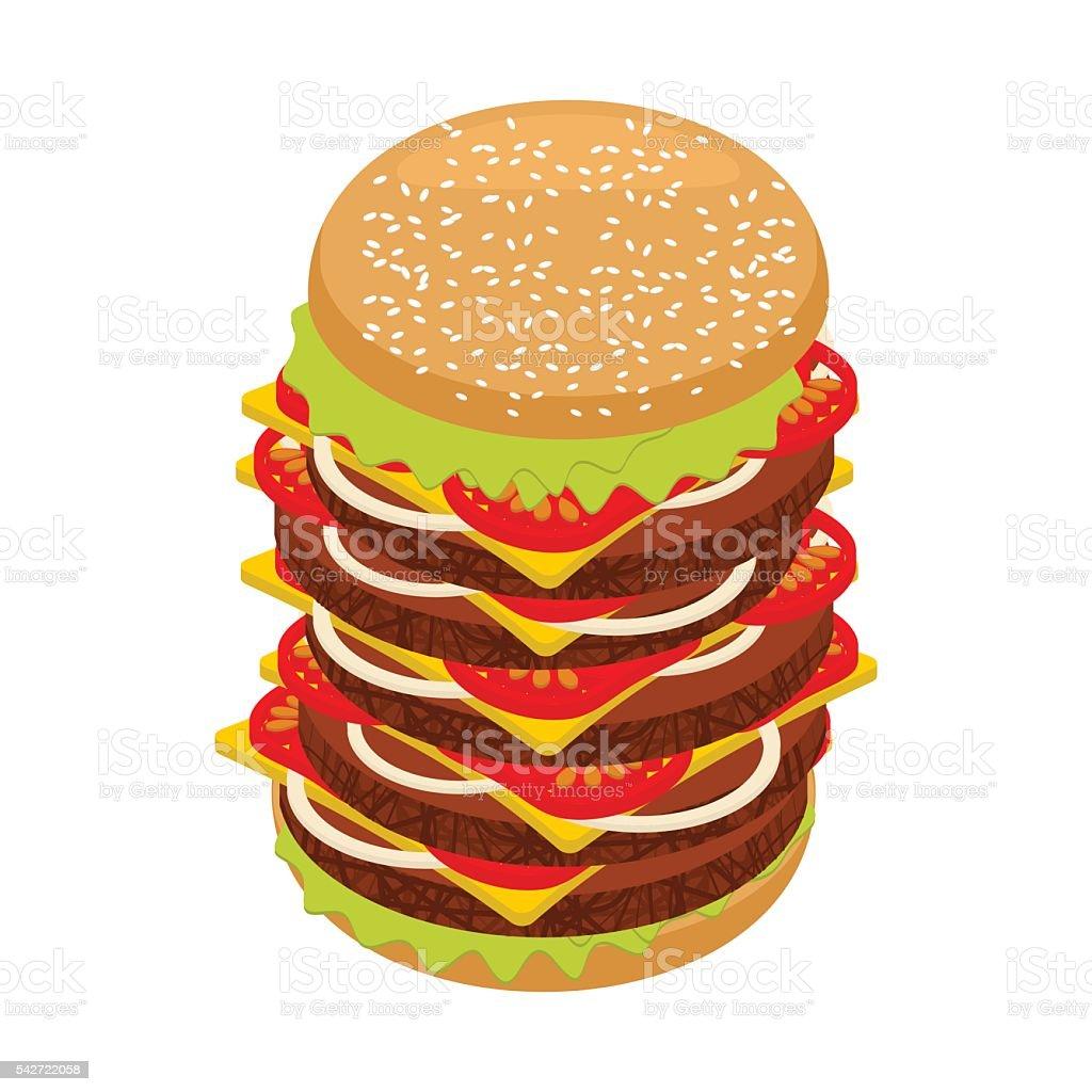 Very large hamburger. High juicy tall burger. Huge sandwich patt vector art illustration