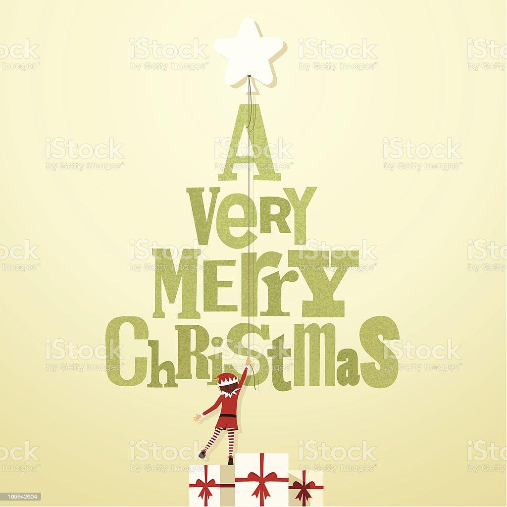 very merry christmas elf present kid star illustration vector royalty-free stock vector art