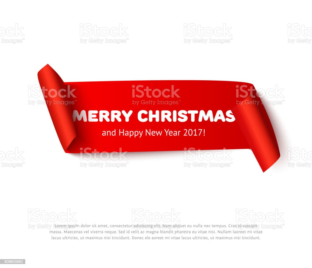 Very Merry christmas paper roll banner with realistic shadow. Red vector art illustration