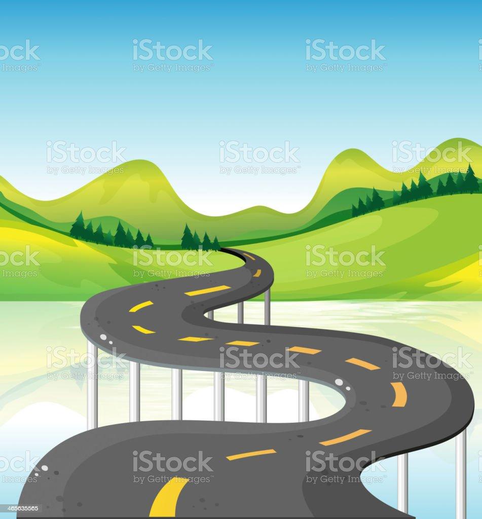 very narrow curve road royalty-free stock vector art