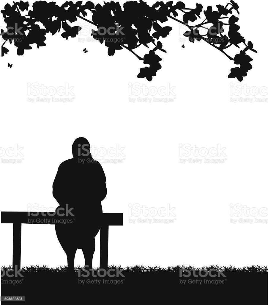 Very old grandma sitting on bench in park vector art illustration