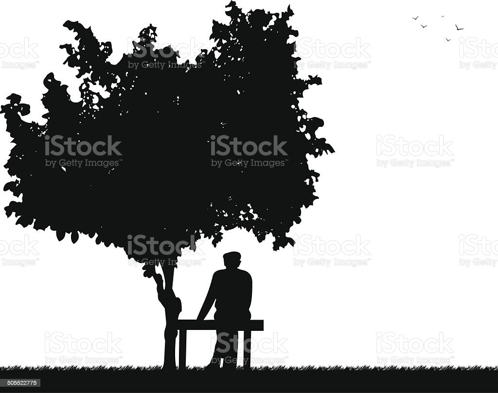 Very old grandpa sitting on bench in park vector art illustration
