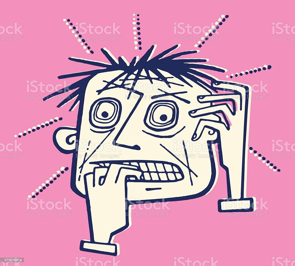 Very Worried Man vector art illustration
