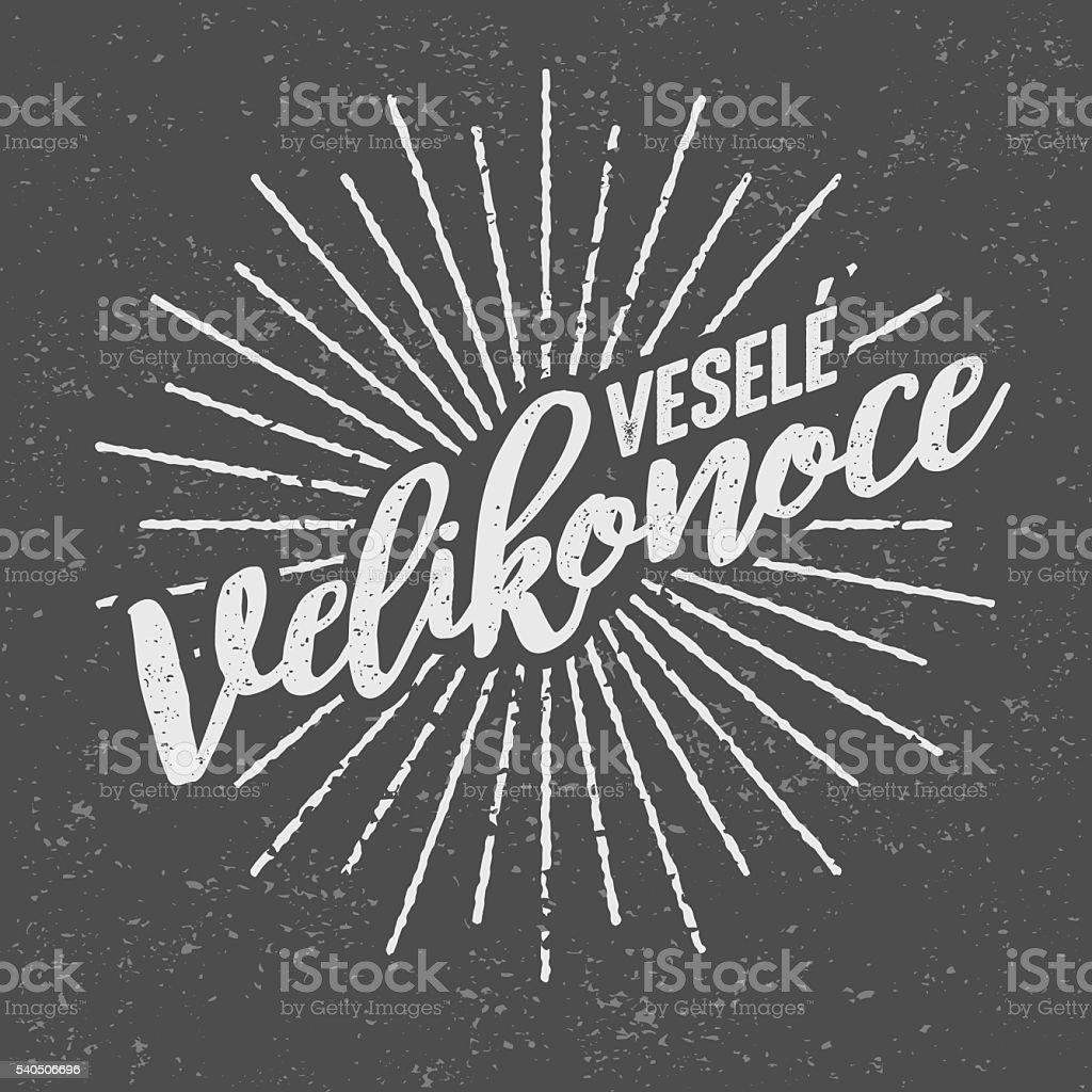 Veselé Velikonoce ('Happy Easter' in Czech) Vintage Screen Print vector art illustration