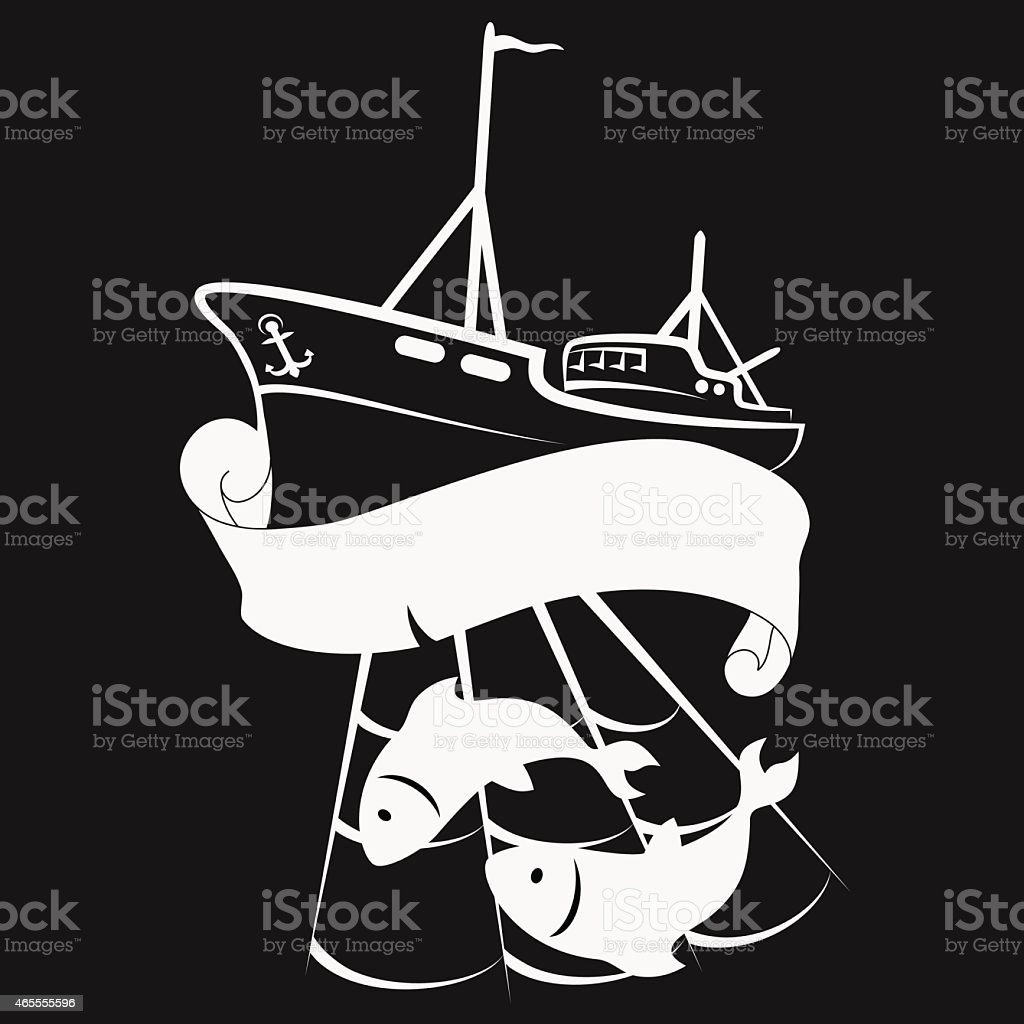 Vessel for fishing vector art illustration