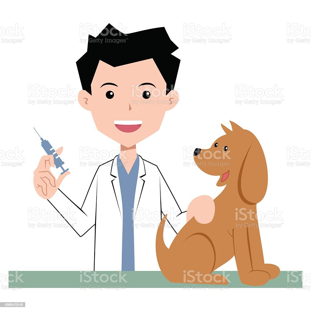Vet and dog, vaccination vector art illustration