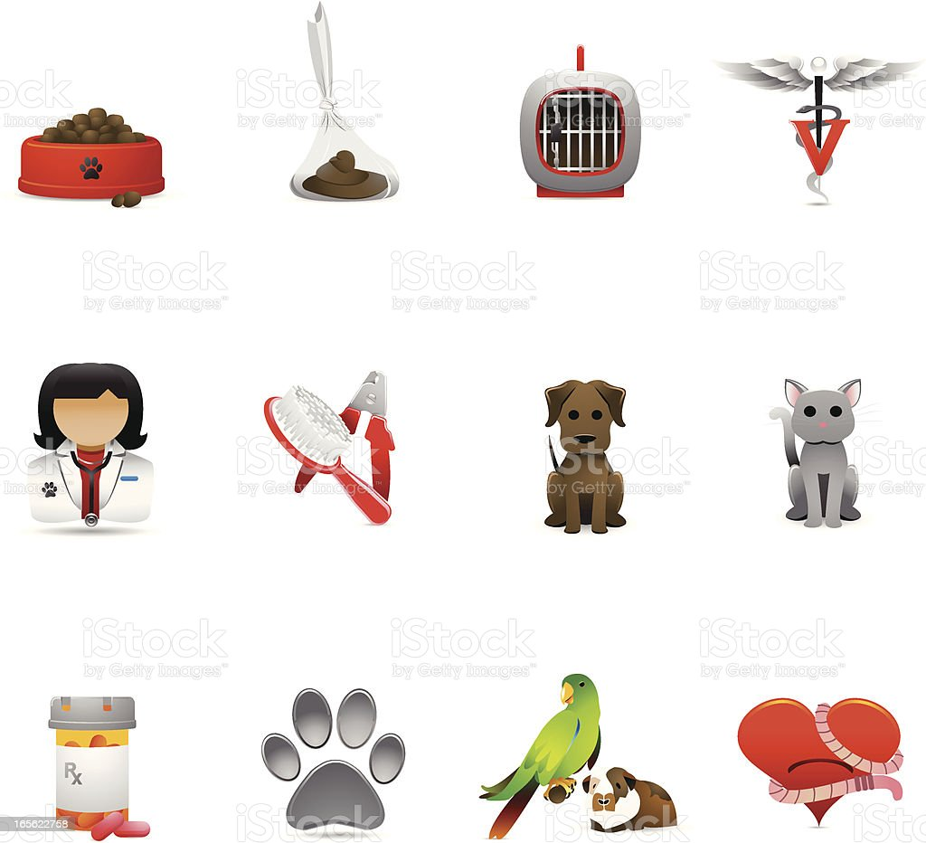 Vet Icons vector art illustration