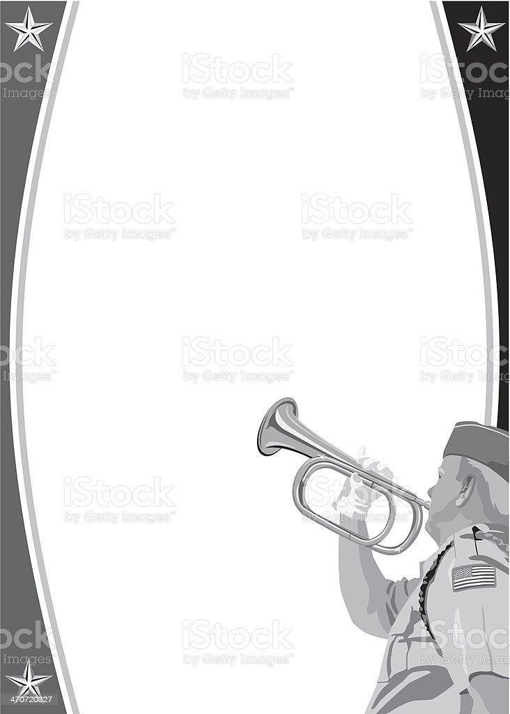 Veteran Bugle Frame royalty-free stock vector art